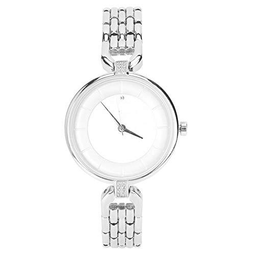 Jopwkuin Gran decoración Reloj Femenino Reloj de Cuarzo para Mujer Regalo con Estilo Lujoso(White Shell White)