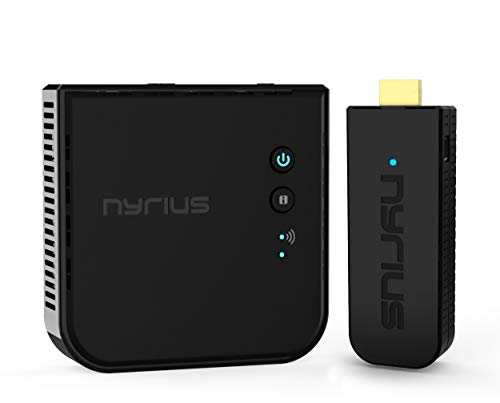 Nyrius Aries Pro Wireless HDMI Transmitter and Receiver to Stream HD 1080p 3D Video from Laptop, PC, Cable, Netflix, YouTube, PS4, Drones, Pro Camera, to HDTV/Projector/Monitor (NPCS600)