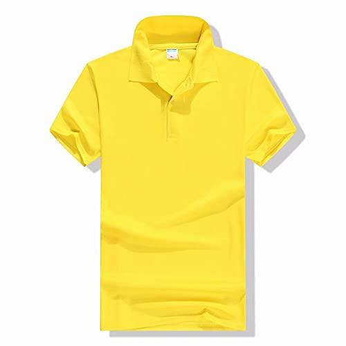 Camiseta Hombres Color Sólido Básico Clásico Camisa Deportiva Hombres Deporte Botón Transpirable Tapeta Slim Fit Hombres Manga Corta Moderna Casual Hombres Tshirt C-Yellow L