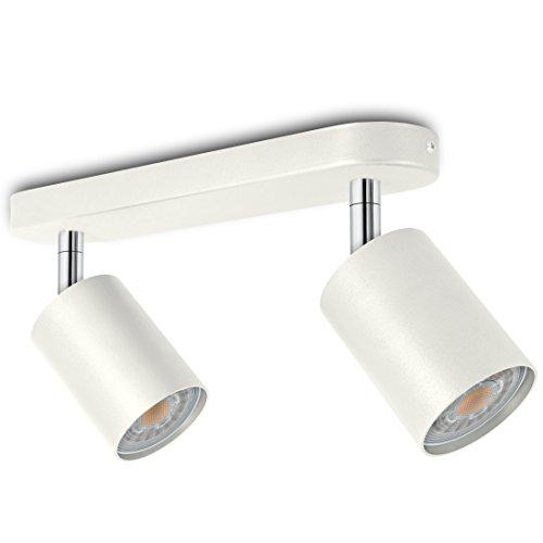LED Spotbalken 2-flammig weiß dreh- und schwenkbar - Spotserie 2er - schlichte Deckenleuchte inkl. 2 x LED GU10 warmweiß 230V
