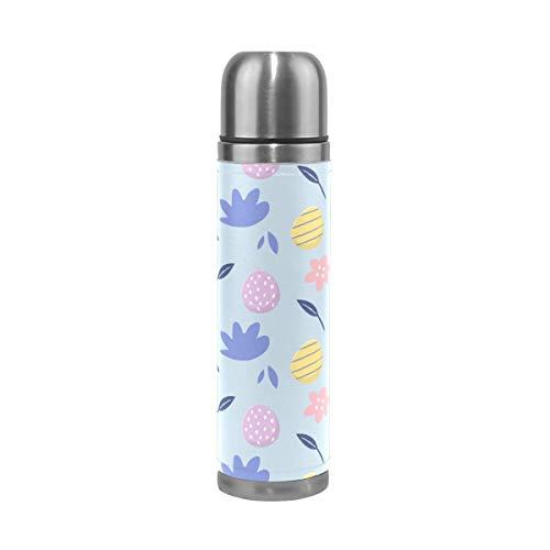 Thermos ThermoCafé Botella térmica aislada, Feliz Pascua Huevo Colorido Patrón Floral,Frasco de Vacío de Acero Inoxidable 500 ml