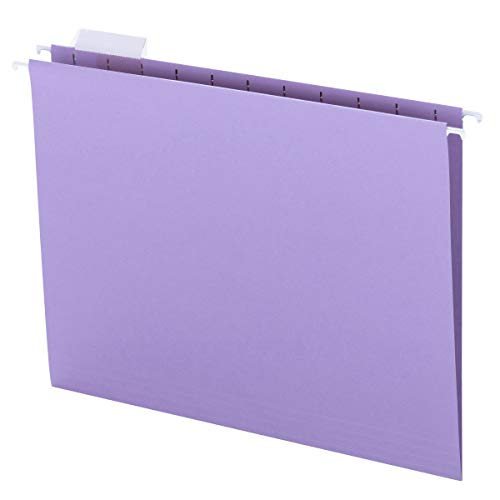 Smead Colored Hanging File Folder with Tab, 1/5-Cut Adjustable Tab, Letter Size, Lavender, 25 per Box (64064)