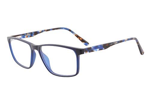 SHINU Anti Blu Luce Progressiva Multifocus Occhiali Da Lettura Primavera Cerniera Illuminato Telaio per Uomini Donna-MFANB6118 C5 blu M