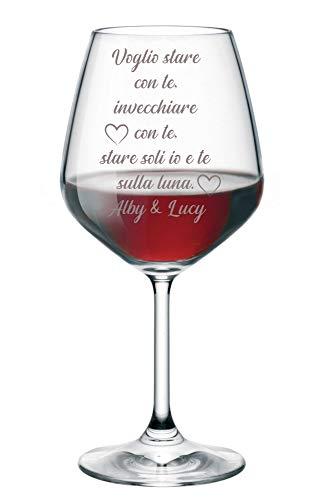 Calice da Vino Incisione SanValentino Regalo Fidanzati Innamorati Voglio Stare con Te - PERSONALIZZA con Nome - Calice in Vetro 500 ml