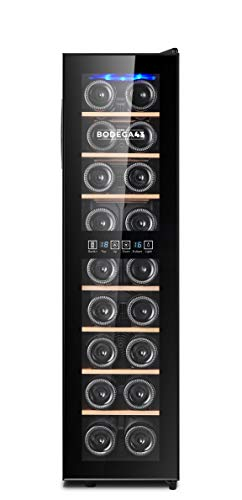 BODEGA43-18 Weinkühlschrank schmal und hoch - Weinklimaschrank mit 2 Zonen, 8-18 ºC, 53 Liter, 18 Flaschen, 7 Regaleinschübe, Vollglas-Designtür mit Touchpanel, Geräuscharm (40 dB), Schwarz