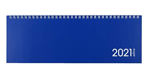 Preisvergleich Produktbild 2021 ADINA Tischquerkalender 1 Woche auf 2 Seiten Schreibtischkalender 30x10cm (2021,  blau)
