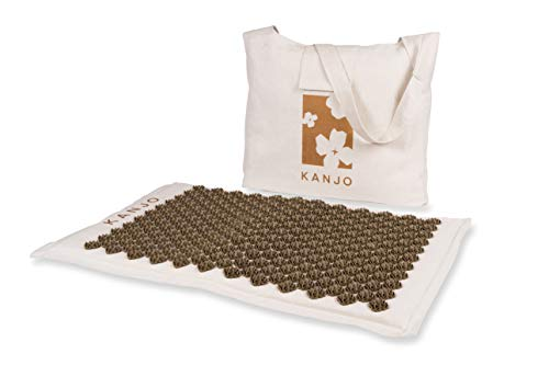 Kanjo Coconut Acupressure Mat with Carry Bag  Eco Friendly Coconut Fiber Core  Neck Back amp Shoulder Pain Relief  Promotes Stress Relief Relaxation and Headache Relief  Includes Travel Bag