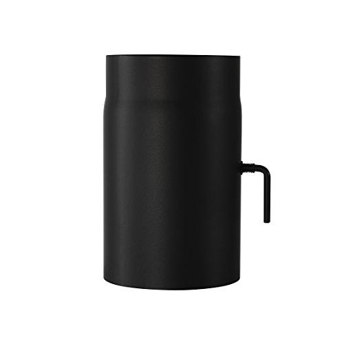 Ofenrohr Senotherm® mit Drosselklappe Wandstärke 2 mm Ø 120 hitzebeständig lackiert - Länge: 250mm - Rauchrohr, Kaminrohr schwarz - für Kaminöfen