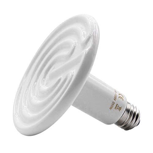 Desconocido Generic Lámpara de Calor de cerámica infrarroja de 200W/250W, Bombilla emisor de Reptiles, Calentador de Jaula de Mascotas E27-250W Blanco