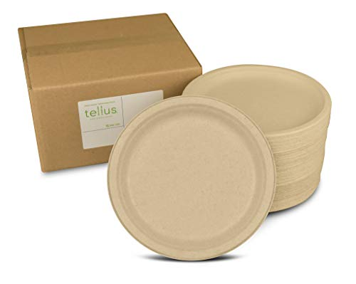 Tellus Products, Eco-Friendly (125-Count) 10-Inch Disposable Plates - Compostable, Grown & Made in the USA, Natural Color, Kosher, Non-GMO