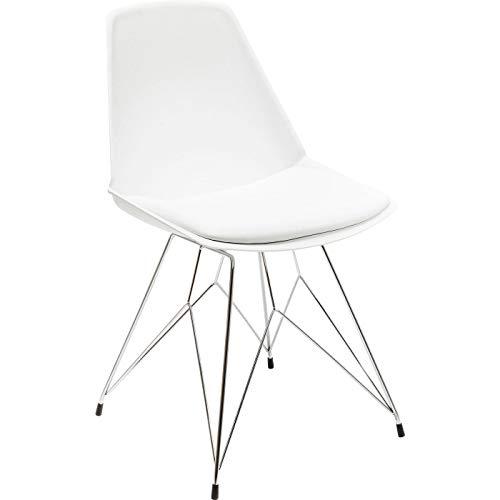 Kare Design - Chaise Design Simili Cuir Blanc WIRE