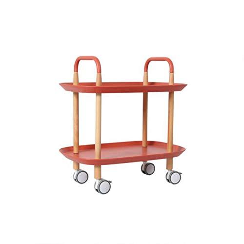 cj-CJ 2-Regal birke Bein und plastikbehälter küche Wagen,Multi-Purpose bar cart Servierwagen mit 4 rädern Beistelltisch für Restaurant Hotel-rot 58x37x59cm(23x15x23)