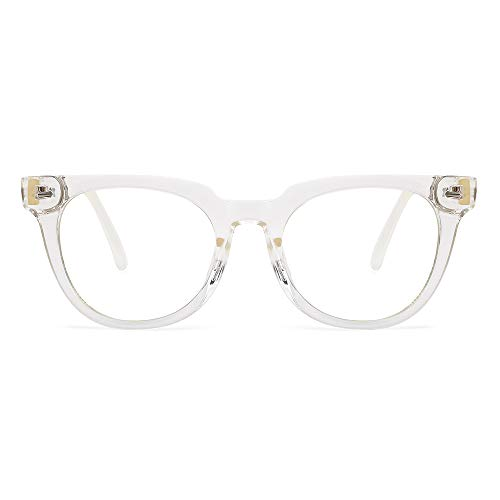 OQ CLUB Marco de Gafas Opticas Gafas de Luz Anti-azul Gafas de Lectura Antifatiga Retro Redondas (Transparente)