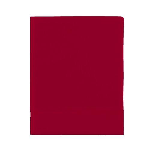 Essix Home Collection - Lenzuolo, in percalle di cotone, 100% cotone percalle, Carminio, 270 x 300 cm
