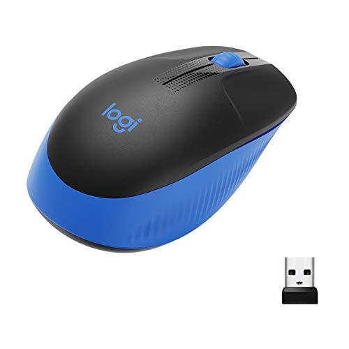Mouse sem fio Logitech M190 com Design Ambidestro de Tamanho Padrão, Conexão USB e Pilha Inclusa - Azul