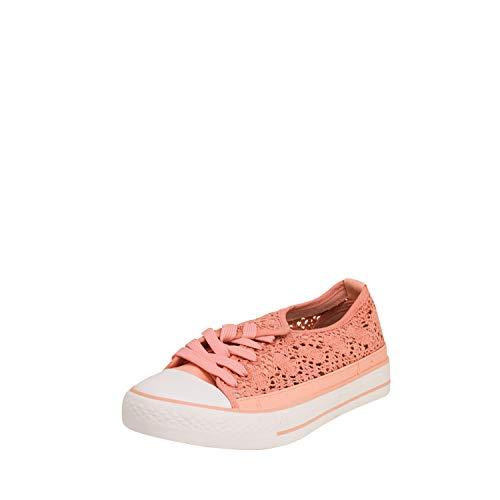 Fitters Footwear That Fits Damas Zapato Deportivo Nina Tela Zapatilla Deportiva con Aspecto Crochet para Verano (44 EU, Coral)