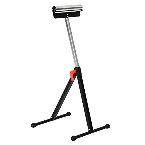 HOMCOM Rollenbock, Rollenauflage, Verstellbarer Rollenständer, Hiflsbock, Stützbock, bis 90 kg, Metall, Schwarz, 44 x 50 x 68-110 cm