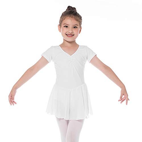 Kinder Ballettkleidung Mädchen Ballettkleid Kurzarm Balletttrikot Ballettanzug Tanzkleid Tanzbody aus Baumwolle mit Chiffon Rock Tütü 130