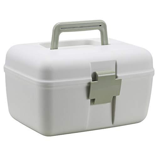 QXTT Hausapotheke Schrank Medizinbox Kunststoff 2 Ebene Erste Hilfe Box Medizinkasten Medikamentenbox Multifunktions Sortierkasten Mit Griff,Green