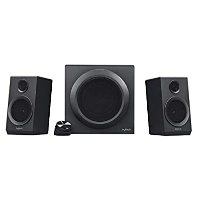 Logitech Z333 2.1 Multimedia Speaker System with Subwoofer, Rich Bold Sound, 80 Watts Peak Power, Strong Bass, 3.5mm Audio and RCA Inputs, UK Plug, PC/PS4/Xbox/TV/Smartphone/Tablet/Music Player, Black from Logitech