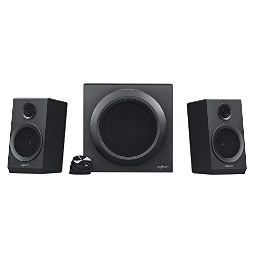 Logitech Z333 2.1 Sistema de Altavoces con Subwoofer, Sonido Impactante, 80 Vatios de Pico, Graves Potentes, Entradas de 3.5 mm/RCA, Enchufe UK, PC/PS4/Xbox/TV/Móvil/Tablet, Negro