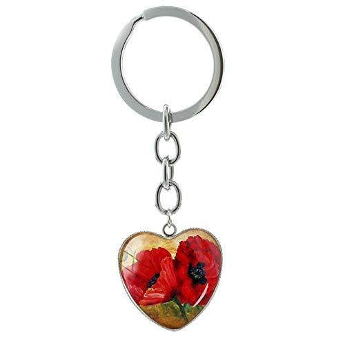 Schöner roter Mohnblumen-Schlüsselanhänger, Glaskunst, Mohnblume, Herzanhänger, Schlüsselanhänger, Ring, Damenschmuck
