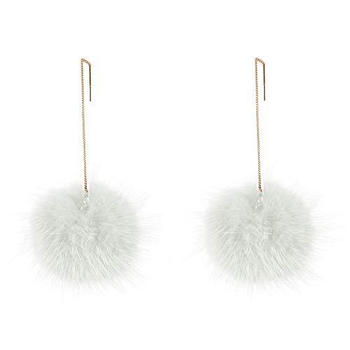 Sanwood Lange baumelnde Ohrringe, Kunstfell, weiche runde Kugel, baumelnd, lange Kette Haken, Ohrringe für Frauen, Geschenk Schmuck