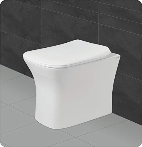 Belmonte Ceramic Floor Mounted European Water Closet/One Piece Western Toilet Commode/WC/EWC Battle S Trap with Slow Motion/Soft Close Seat Cover 51cm x 35cm x 39cm - White