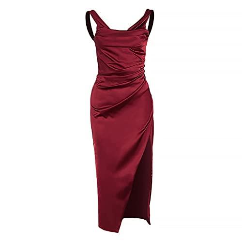 JFTMY Mode Frauen Kleider sexy Frauen Satin Off-The-schulterfalten Split Dress Slim-fit Rock komfortable Damenbekleidung (Color : Red, Size : Lcode)