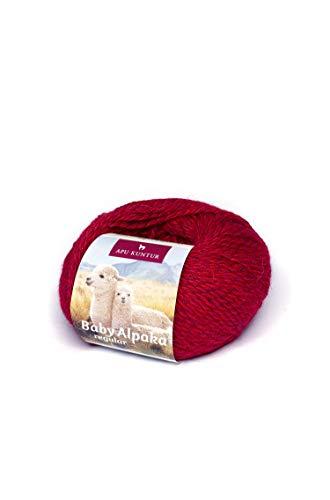 APU KUNTUR 100% Alpaka-Wolle (Baby Alpaka) | Garn zum Stricken und H�keln in feinster, weicher Qualit�t | Venezia Blut-rot