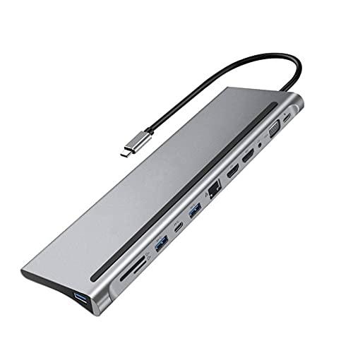 NXYJD SHJPJFXJ 12-en-1 Fast USB Tipo C Hub para la estación de Acoplamiento Dual 4K Dual RJ45 PD USB 2.0 Carga VGA Audio Jack Adaptador de 3.5mm