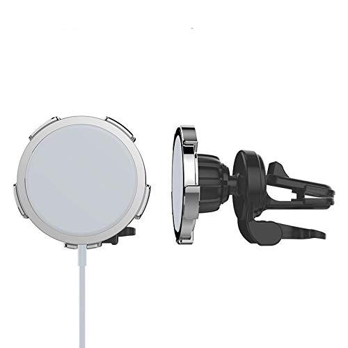 Soporte para teléfono para automóvil adecuado para cargador inalámbrico MagSafe, soporte para teléfono con ventilación para automóvil, adecuado para iPhone 12 Pro max (plateado)