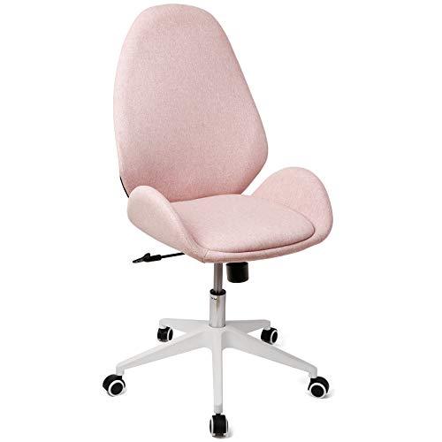 Besit Bürostuhl Ergonomischer Schreibtischstuhl Moderner Drehstuhl Computerstuhl Office Chair, Bürostuhl Ohne Armlehne, Wippfunktion, Stufenlos Höhenverstellbar, Stoffbezug Rosa