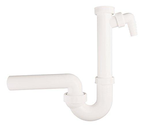 Dallmer 22448 2 Röhrensifon für Spülen, 1 1/2 Zoll x 40 mm, kunststoff weiß