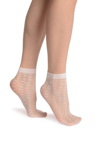 LissKiss White Mosaic On White 20 Den Socks Ankle High - Weiß Socken Einheitsgroesse (37-42)