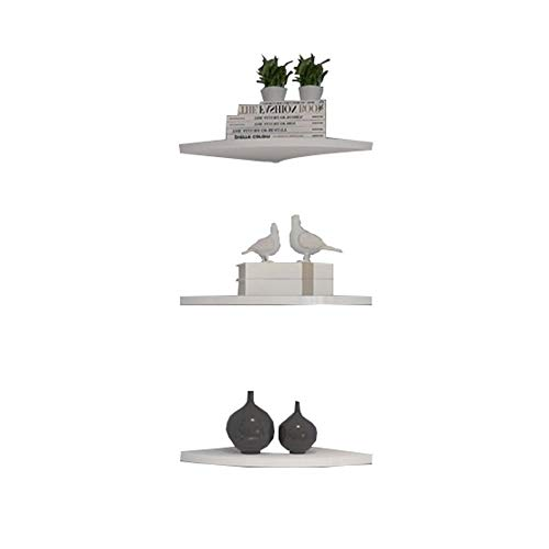 Wall Mounted Floating Shelf, Creative waaiervormige display Storage Rack, 3 Set White Corner Frame planken for Living Room 410