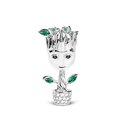 GNOCE Tree Man Charms Sterling Silver 18k Rose Gold Plated Bead Charms with Cubic Zirconia and Green Leaf Fit Bracelet/Necklace Jewelry Gift for Women Mens (2Silver)