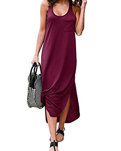 Auxo Vestido Mujer Verano Largo Vestido Casual Talla Grande Cuello Redondo Sin Manga Vestido Playa Elegante Color Sólido U-Vino Rosso XL