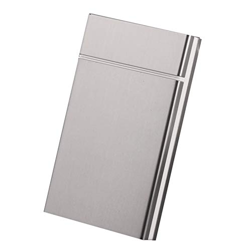 HQPCAHL Caja De Cigarrillos De Aluminio Slim Hombres Mujeres Caja De Cigarrillos Cigarrillo De Metal Portátil Organizador De 20 Cigarrillos con Cierre Superior Magnético,Gris