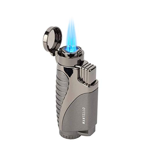 Mantello Ignite Triple Jet Flame Butane Lighter - Cigarette Torch Lighter - Premium Smoking Accessories & Gifts - Refillable Tank, Adjustable Gas Knob, Windproof Fire