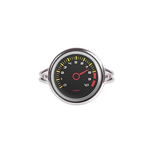 Mylery Ring mit Motiv Drehzahl-Messer DZM RPM Umdrehungen Instrument Anzeige Carbon Silber 14mm