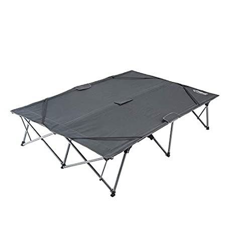 KingCamp Camping Cot Double - 2 Person Oversized Anodized Steel Frame Portable Folding Bed with Wheeled Carry Bag.