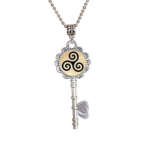Triskele Triskelion Allison - Collar con llave y colgante hecho a mano, regalo de moda, regalo de Navidad, PU051