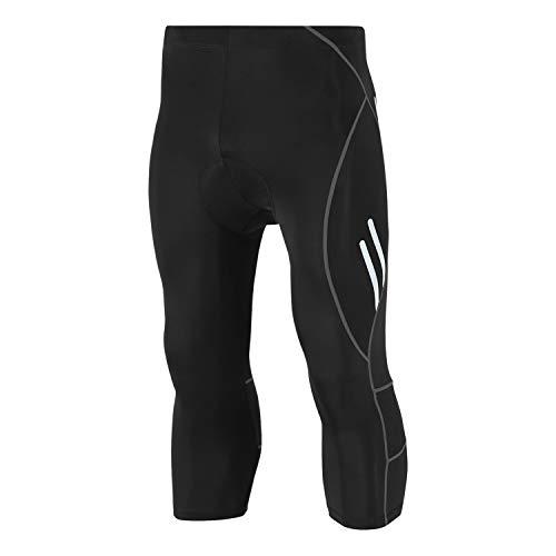 Legendfit Men's Cycling Tights 4D Padded Capri Bike Pants Hidden Pocket Black