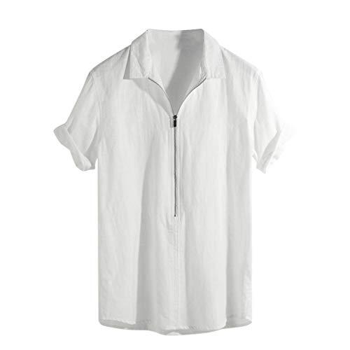 FRAUIT Camicia Uomo Lino Coreana T Shirt Ragazzo Divertenti Camicie Uomini Particolari Large Magliette Maniche Corte con Colletto Maglietta Manica Corta Estate Spiaggia Maglia Elegante Traspirante