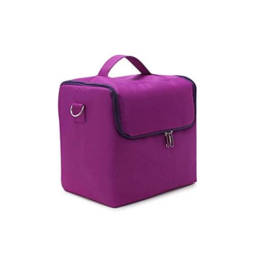 Caja organizadora de maquillaje a la moda para mujer, bolsa de cosméticos portátil profesional de viaje de gran capacidad, maleta para mujer, estuche de almacenamiento con capas, violeta