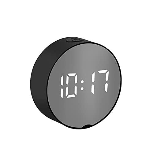 Reloj Despertador Digital con Espejo LED,Luces Nocturnas Termómetro Relojes de Pared Lámpara Cuadrado Rectángulo Reloj de Mesa Multifunción Relojes...