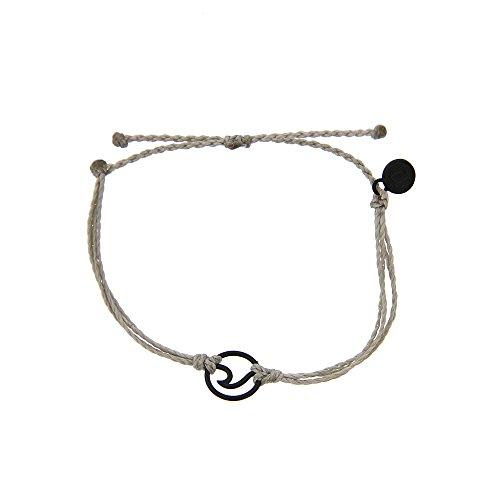 Pura Vida Black OG Wave Light Grey Bracelet - Plated Charms, Adjustable Band - 100% Waterproof