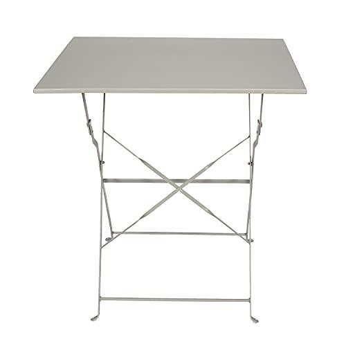Tavolino pieghevole taupe 70x70x71 cm, in acciaio, Taupe
