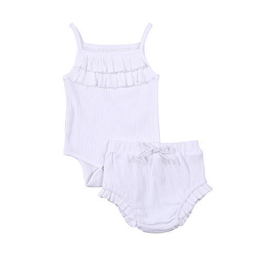 BemeyourBBs Bebé recién nacido niñas verano conjuntos cortos sin mangas cuello cuadrado Sling mameluco pantalones cortos Bloomer pantalones 2 piezas trajes infantiles
